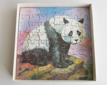 Vintage children's jigsaw Panda. Victory plywood jigsaw puzzle 64 pieces