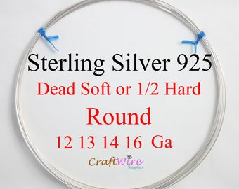 925 Sterling Silver Wire, 12 13 14 16 Gauge, ROUND, Dead Soft, Half Hard, Length Choice, Wholesale, 1 5 10 Feet, Jewelry wrapping craft