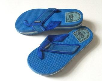 REDUCED Vintage 1970s Childs Size 1 Sandals VGC / Dyna Kids Royal Blue Foam Flip Flops