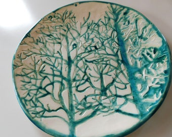 Large ceramic plate TREES in turquoise and white