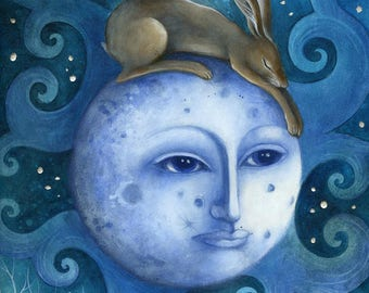 Limited edition Giclee of 'The Moon, the Hare and the Blackbird' by Amanda Clark. Fairy tale art and illustrations, wildlife art, hares,