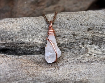 Quartz Crystal Necklace - Hairstone Quartz Jewelry - Wire Wrapped Stone Necklace - Bohemian Necklace - Gypsy Boho Jewelry - Wiccan Jewelry