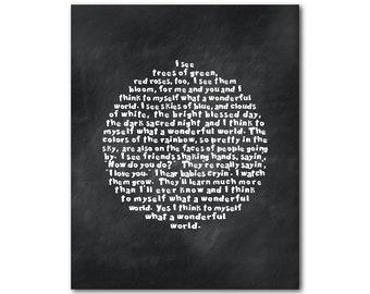 What a wonderful world - Louis Armstrong song lyrics - typography word art - skies of blue - Inspirational PRINT - Children's Wall decor