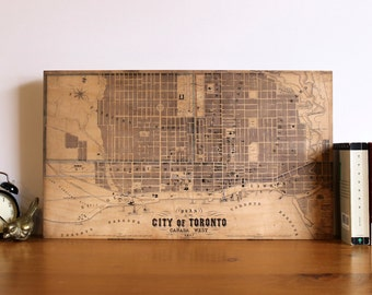 Toronto 1857 Map - Printed on Wood - Vintage Maps - Canada Map - Wood Map Art