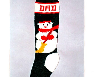 pdf Frosty the Snowman Christmas Stocking Knitting Vintage Pattern -Yarn Craft Knit Childrens Holiday Decoration