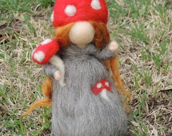 Wool Fairy - Needle felted wool Forest Girl with Toadstool by Rebecca Varon  Waldorf inspired