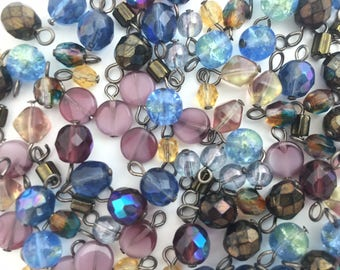 Bulk Lot 100 Dangle Bead, Charm Bead Mix, Bead Soup, Czech Bead Mix, Purple Blue, DIY Jewelry Making, 7811BD
