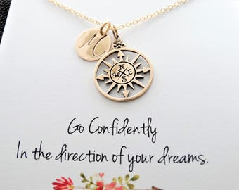 Compass Necklace Gold College graduation gift high school Graduation gift for graduate Travel necklace Friendship necklace Personalized