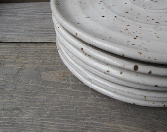 salad plates - dinnerwares - dish sets - ceramic plates - rustic plates - pottery plates - plate sets - white plates - wedding