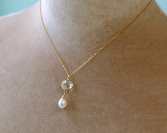 Gold bridal necklace pearl, crystal necklace, pearl drop necklace, bridal back drop necklace, bridal jewelry pearl - Bess