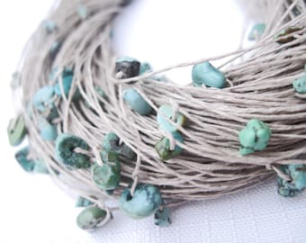 Turquoise Multi Strand Necklace Fiber Jewelry Chunky Azure Natural Turquoise Teal Blue Green Mint Eco Style Jewelry Beach Summer Fashion