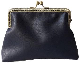 Handmade Navy Blue  Clutch Bag Vegan Leather Wedding Makeup Bag Birthday Gift Best Friend Gift for Women Handbag Purse Sister Gift for Her
