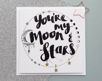 MOON & STARS Card   Moon and Stars Anniversary Card   Romantic Card, Space Love Card, Space Anniversary Card   Cards for Him, Cards for Her
