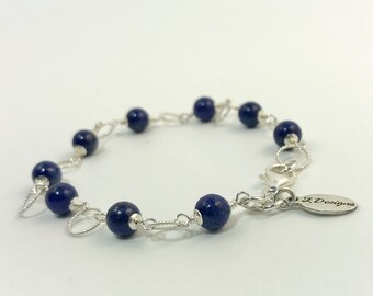 Homemade Lapiz Lazuli Bracelet with Sterling Silver