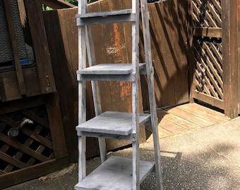 Ladder Shelf // Leaning Bookcase // Tiered // Bathroom // Bedroom // Living Room // Storage // Bookshelf