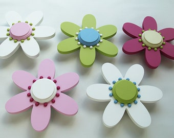 12 Inch Wood Daisy Flowers, Set Of 5, 3D Flower Wall Art, Available In  Different Colors