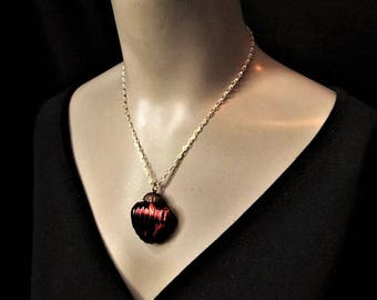 Heart Necklace Red Heart Pendant Valentine's Day Necklace Valentine Jewelry Mercury Glass Statement Girlfriend Gift for Her Anniversary