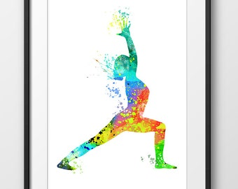 Yoga Print, Yoga Pose Poster, Yoga Watercolor, Yoga Art, Yoga Print, Yoga Decor, Yoga Painting, Yoga Home Decor (A0265)