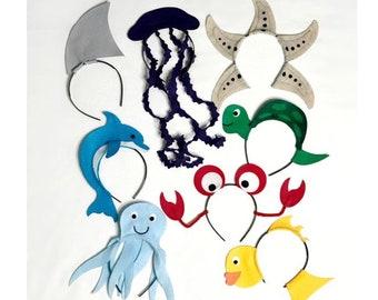 Under the sea ocean beach Theme Headbands birthday party favors supplies decor costume hat fish crab octopus jellyfish star little mermaid