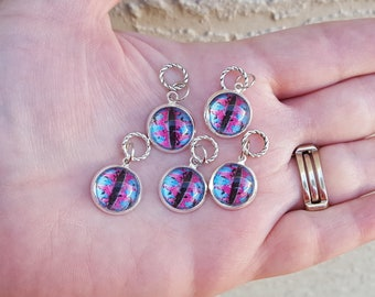 Blue And Pink Dragon Eye Cabochon Knitting Stitch Markers or Charms (Set of 5)