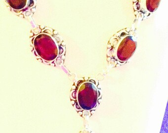 """Necklace, Handmade """"Y""""Necklace, Sterling Silver Y Necklace Red Stained Glass"""