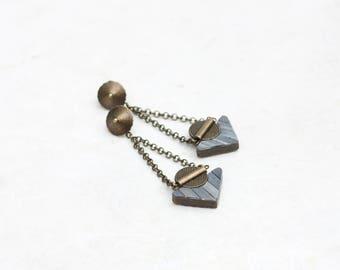 Dangle Triangle Earrings Drop Minimalist Geometric Earrings Modern urban Jewelry polymer clay earrings