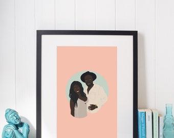 Custom Illustration - Couple - Personalized Anniversary or Wedding Gift - Art - Custom Couple Portrait - Unique Gift - Couple Gift - Digital