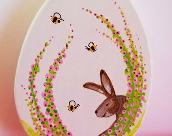 Hand Painted Easter Egg, Bunny, Rabbit, Bees, Spring, Easter Ornament