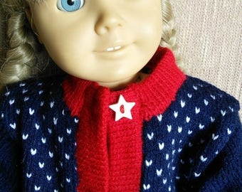 Beautiful knit cardigan for 18 inch dolls