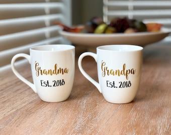 Grandparent Gift, Custom Grandma and Grandpa Coffee Mugs, Pregnancy Reveal, New Grandparent Gift, Grandma mug, Grandpa mug