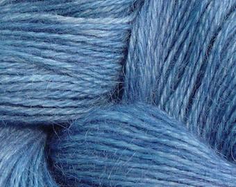 Hand Dyed Alpaca Yarn in Dark Denim - Finger Wt - 250 yds