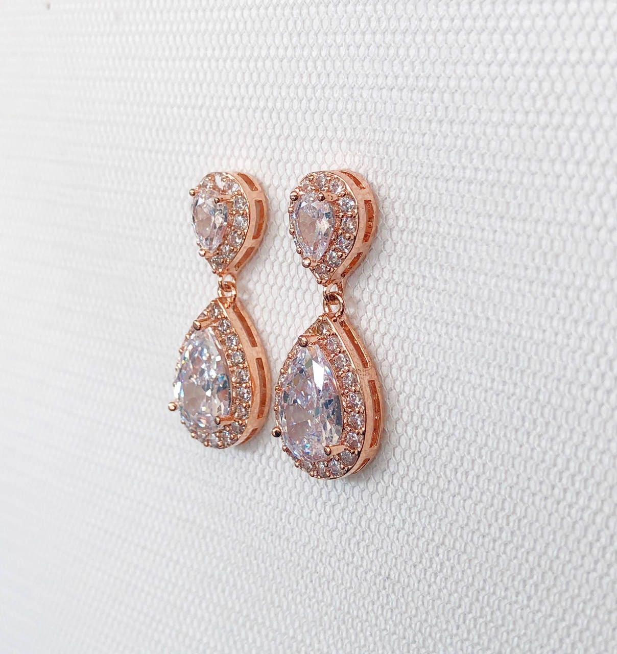 Rose Gold earrings, Wedding Earrings, Rosegold bridal earrings ...