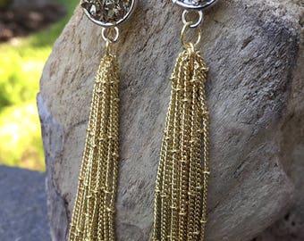 Faux druzy earrings, gold plated bezel pendant earrings, dangle gold plated chain, tassel, elegant, anniversary, date night jewelry,