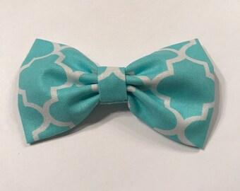Turquoise Quatrefoil bow