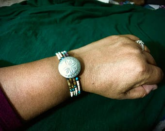 Memory Wire Bracelet Beaded with Multicolored Heishi, Turquoise Nuggets, and Sterling Silver Concho