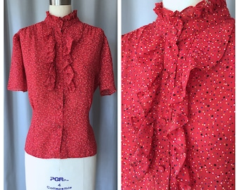"Vintage 1980s ""Barb"" Red Confetti Ruffle Ascot Blouse/ High Neck"