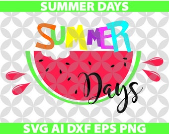 Summer Days Svg, Ai, Dxf, Eps, Png, Cricut, Decal