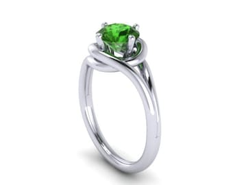 Grace Collection Engagement Ring in 14K White Gold Wedding Ring with 7mm Round Emerald Center Original Gemstone May Birthstone Gems - V1095
