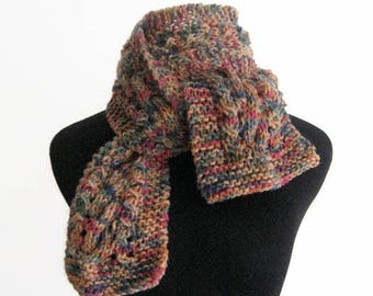 The Stef Scarf, Hand Knitted Scarf, Steel Blue,Green,Caramel, Pink and Beige Cable and Lace Knit Scarf,Vegan Knits, Winter Scarf