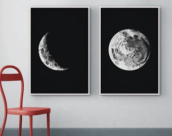 Moon Phases Set of 2, Full Moon Print, Crescent Moon Print, Moon Phases Print, Nursery Decor, Moon Art, Astronomy Print, Wall Decor