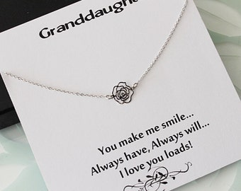 Rose Flower Necklace, Flower Necklace Silver, Silver Necklace, Best friend gift, bridesmaid gift