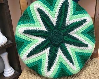 Vintage Round Crocheted Pillow Green and white Retro
