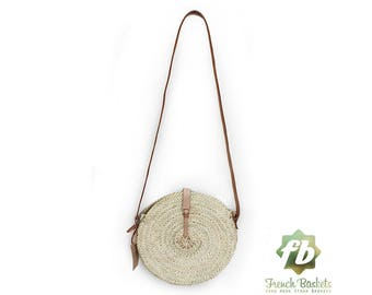 Round straw bag Handmade wicker bag French Basket Beach French Basket tote Beach Bag - Rose mini Baskets rond with leather natural Closure
