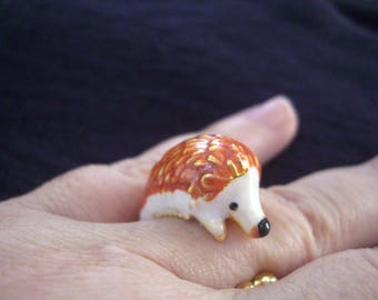 Baby Hedgehog ring! Enameled Brass, and Gold plate.