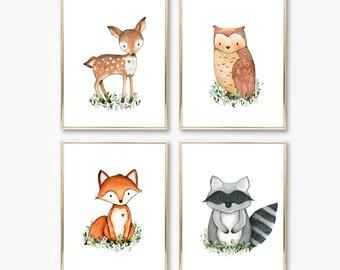 Nursery Prints. Woodland Nursery Wall Art. Nursery Wall Art Set. Forest Nursery Decor. Boy Nursery Art. Baby Shower Gift. Baby Boy Gift