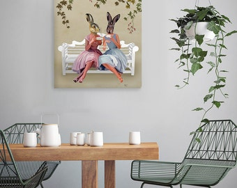 Rabbit Chat - Wall Art Acrylic Painting rabbit print rabbit painting Rabbit art Rabbit décor bunny décor Rabbit poster bunny print country