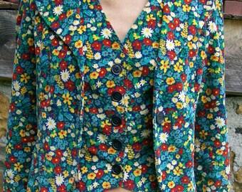 70's or 60's Vintage Flowered Corduroy Blazer and Vest Combo
