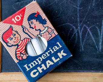 Imperial Chalk, vintage chalk for chalkboard, art supply, made in the USA, vintage packaging, vintage advertising,school memorabilia