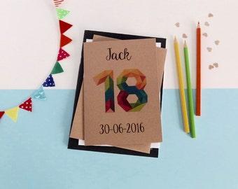 18th birthday card - Any age - 16th, 18th, 20th, 21st, 30th, 40th, 50th, 60th - 70th - 80th - 90th - Rustic birthday - geometric number card