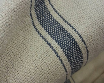 """French Grain Sack Fabric - Farmhouse Cream Fabric - Blue 3 Stripe - 54"""" Wide - Upholstery Fabric - CONTINUOUS CUT"""